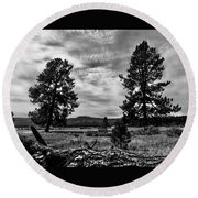 Round Beach Towel featuring the photograph Two Old Friends I Need A Hug by Jennifer Lake