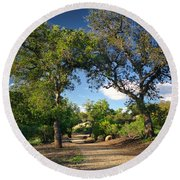 Two Old Oak Trees Round Beach Towel by Endre Balogh
