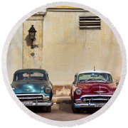 Round Beach Towel featuring the photograph Two Old Vintage Chevys Havana Cuba by Charles Harden