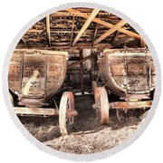 Round Beach Towel featuring the photograph Two Old Wagons by Jeff Swan