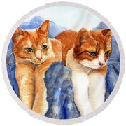 Round Beach Towel featuring the painting Two Orange Tabby Cats by Carlin Blahnik CarlinArtWatercolor