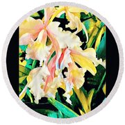 Two Orchids Pink Turquoise Round Beach Towel