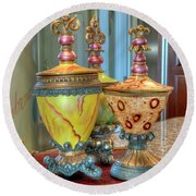 Two Ornate Colorful Vases Or Urns Art Prints Round Beach Towel