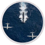 Two P-3 Orion Maritime Surveillance Round Beach Towel