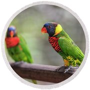 Two Parrots Round Beach Towel