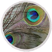 Two Peacock Feathers Round Beach Towel