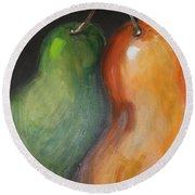 Round Beach Towel featuring the painting Two Pears by Jolanta Anna Karolska