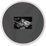Two People In Love By Michael Grobin Round Beach Towel