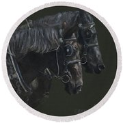 Two Percherons Round Beach Towel