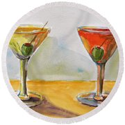 Two Perfect Martinis Round Beach Towel