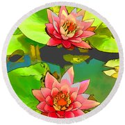 Round Beach Towel featuring the painting Two Pink Blooming Water Lilies  by Lanjee Chee