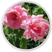 Two Pink Roses Version 1 Round Beach Towel