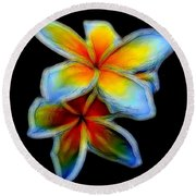 Two Plumerias Round Beach Towel
