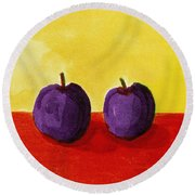 Two Plums Round Beach Towel