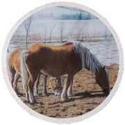Two Ponies In The Snow Round Beach Towel