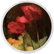 Two Poppies Round Beach Towel by Elaine Teague