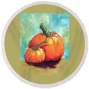 Two Pumpkins  Round Beach Towel
