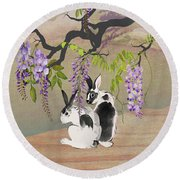 Two Rabbits Under Wisteria Tree Round Beach Towel