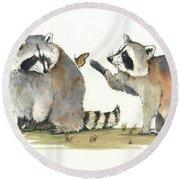Two Raccoons Round Beach Towel