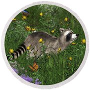 Two Raccoons  With Butterflys Round Beach Towel by Walter Colvin