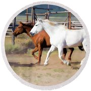 Two Ranch Horses Galloping Into The Corrals Round Beach Towel