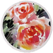 Two Red Beauties Round Beach Towel