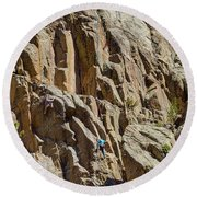 Round Beach Towel featuring the photograph Two Rock Climbers Making Their Way by James BO Insogna