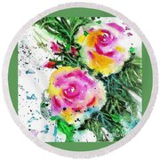 Two Roses And Their Buds Round Beach Towel