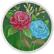 Two Roses Red And Blue Round Beach Towel by Jimmie Bartlett