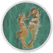 Two Seahorse Lovers Round Beach Towel by Robin Maria Pedrero
