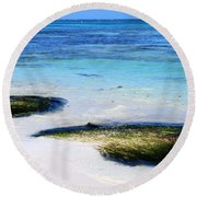 Two Seaweed Mounds On Punta Cana Resort Beach Round Beach Towel