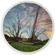 Two Sentinels Round Beach Towel by Endre Balogh