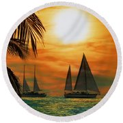 Two Ships Passing In The Night Round Beach Towel by Bill Cannon