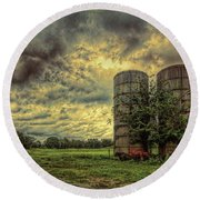 Two Silos Round Beach Towel