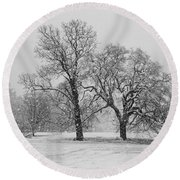 Two Sister Trees Round Beach Towel