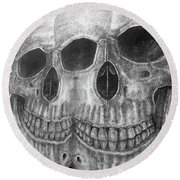 Round Beach Towel featuring the photograph Two Skulls ... by Juergen Weiss