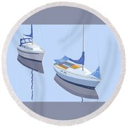 Two Sloops Round Beach Towel
