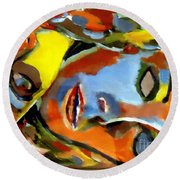 Round Beach Towel featuring the painting Two Souls by Helena Wierzbicki