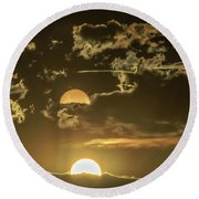 Two Suns Setting Round Beach Towel