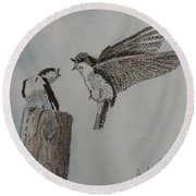 Two Swallows Round Beach Towel
