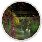 Two Swans And A Bridge Round Beach Towel