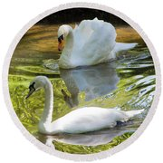 Two Swans On A Lake Round Beach Towel