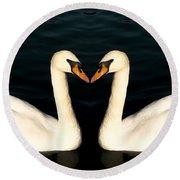 Two Symmetrical White Love Swans Round Beach Towel