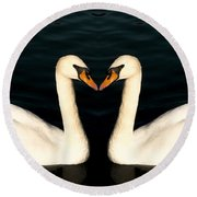 Two Symmetrical White Love Swans Round Beach Towel