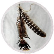 Two Tattered Turkey Feathers Round Beach Towel by Stephanie Frey