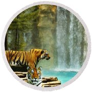 Two Tigers Round Beach Towel