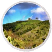Two Trees In Spring Round Beach Towel