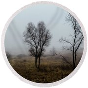 Two Trees In The Fog Round Beach Towel