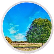 Two Trees On The Illinois Prairie Round Beach Towel