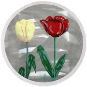 Round Beach Towel featuring the painting Two Tulips by J R Seymour